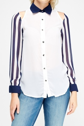 Cold Shoulder Two Tone Blouse