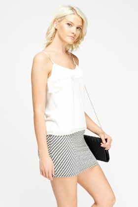 Frilled Off White Cami Top