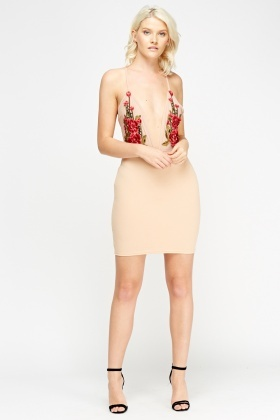 Plunge Embroidered Rose Applique Bodycon Dress