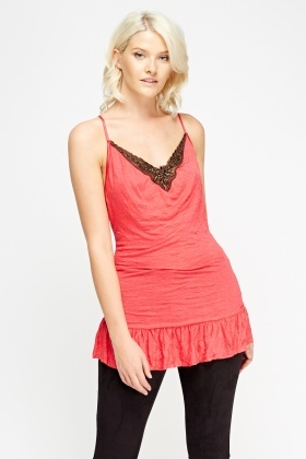 Watermelon Crinkled Embellished Top