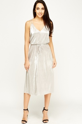 Champagne Pleated Midi Dress
