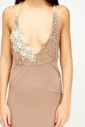 Embroidered Plunge Bodycon Dress