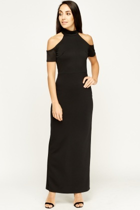 Halter Neck Cold Shoulder Maxi Dress