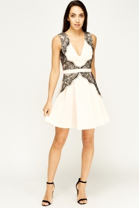 Lace Insert Peach Low Neck Dress