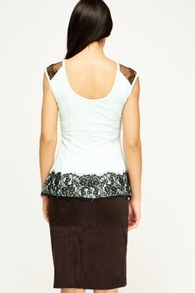 Lace Insert Peplum Top