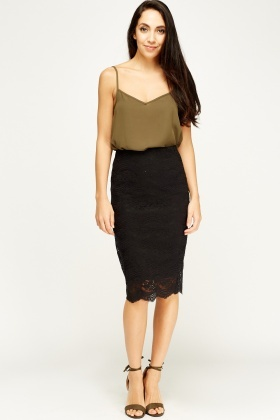 Lace Overlay Black Skirt