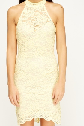 Lace Overlay Yellow Dress