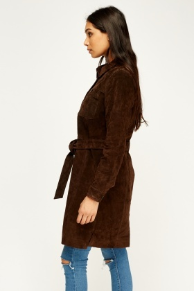 Long Line Brown Suede Leather Jacket
