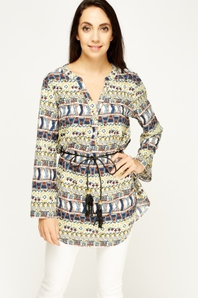 Mixed Print Belted Top