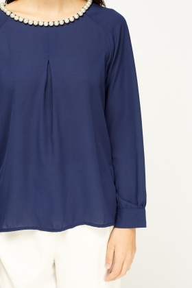 Pearl Neck Sheer Blouse
