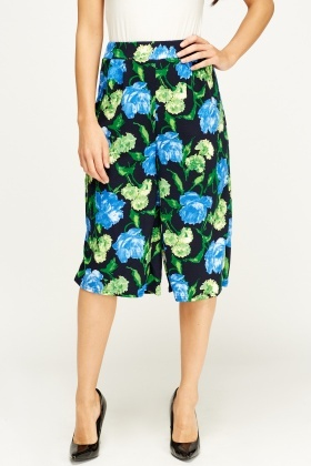 Printed Black Culottes