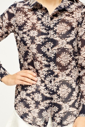 Printed Navy Sheer Blouse