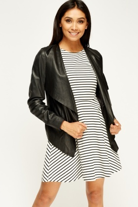 South Black Waterfall Leather Jacket - Just £30
