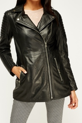 South Leather Quilted Biker Jacket