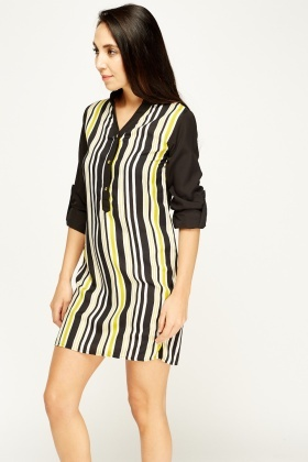Striped Button Neck Shirt Dress