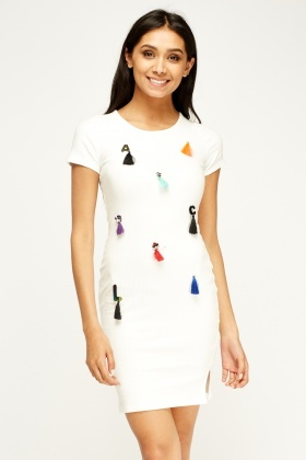 Embroidered Tassled Bodycon Dress