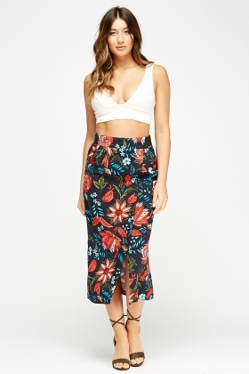 Floral Wrapped Midi Skirt