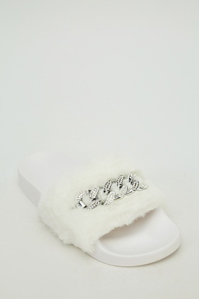 Ideal Chained Faux Fur Sliders