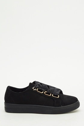 Ideal Suedette Ribbon Lace Trainers