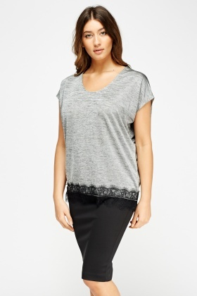 Lace Hem Speckled Box Top