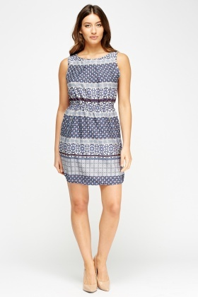 Mix Print Shift Dress