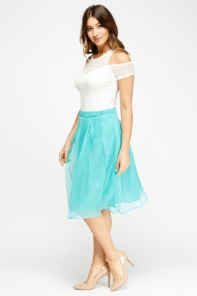 Pleated Mesh Overlay Midi Skirt