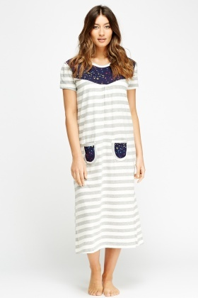 Pocket Front Striped Night Dress
