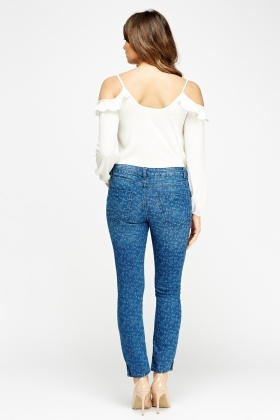 Printed Denim Blue Jeans
