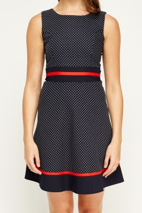Tenki Blue Sleeveless Polka Dot Dress