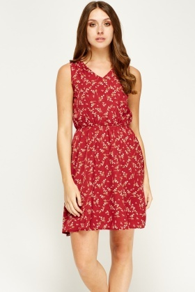Tenki Maroon V-Neck Flower Print Dress