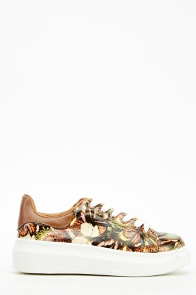 Butterfly Mixed Print Trainers