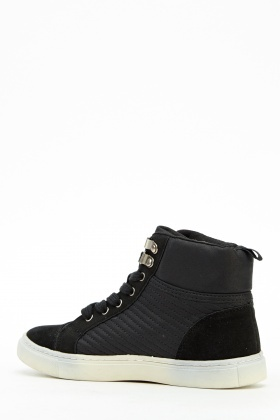Contrast Black High Top Trainers