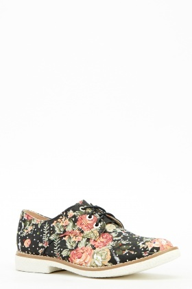 Floral Diamonte Lace Up Shoes