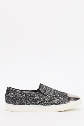 Glittery Embellished Slip On Shoes