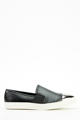 Metallic Contrast Faux Leather Shoes