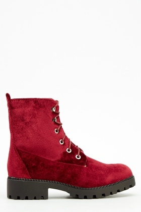 Velveteen Lace Up Boots
