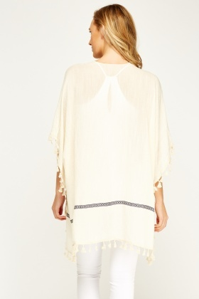 Asymmetric Frayed Hem Cover Up