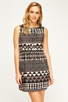 Black Geo Printed Dress