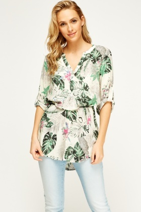 Floral Button Neck Tunic Top