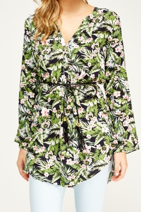 Leaf Printed Tie Waist Top