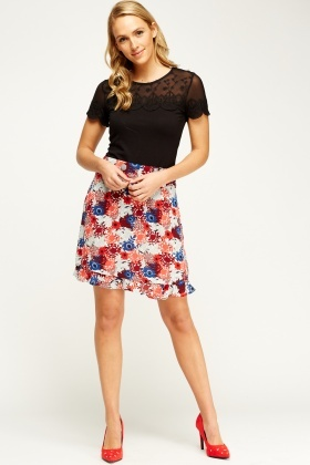 Mixed Floral Frilled Hem Skirt