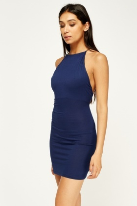 Navy Detailed Back Mini Dress