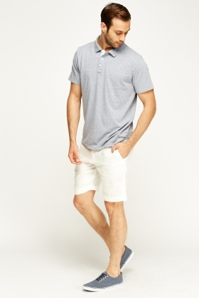 White Casual Linen Shorts