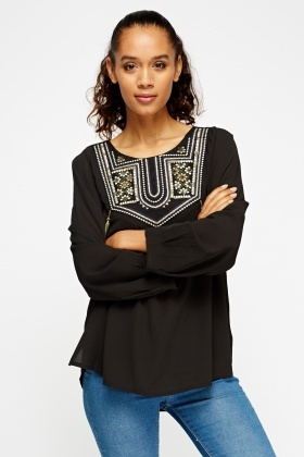 Embroidered Tasseled Top