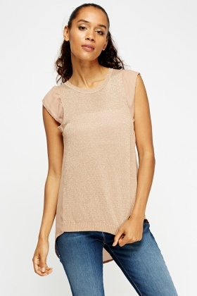 Metallic Insert Sheer Contrast Top
