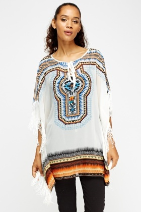 Mix Print Tasseled Cover Up