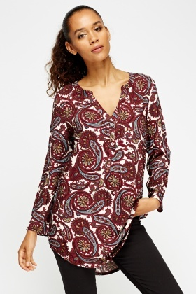 Paisley Print Embellished Tunic Top