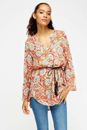 Paisley Print Tunic Top