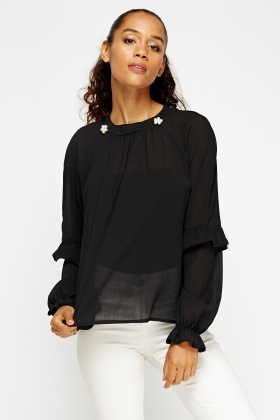 Sheer Friled Embellished Pearl Blouse