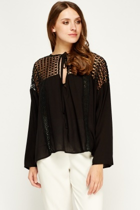 Art Love Crochet Trim Black Blouse